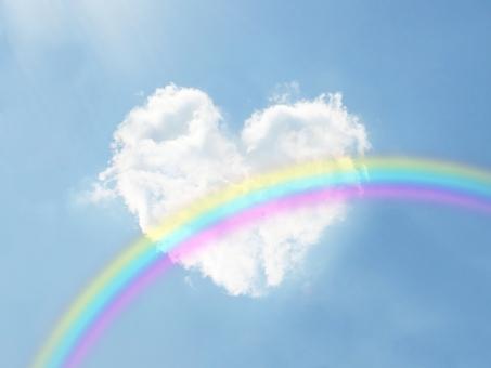 ハートと虹の画像